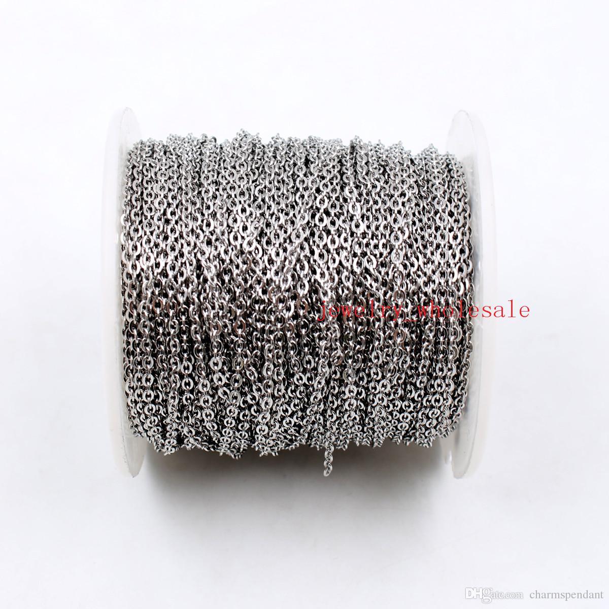 50 meter / rolle große großhandel in groß schmuck finden kette silber edelstahl starke flache ovale rolo kreuz kette fit anhänger diy
