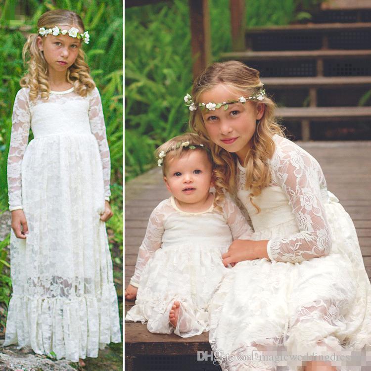 273ecbd05 2017 Vintage White Full Lace Flower Girl Dresses For Wedding Long ...