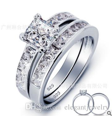 ¡Nuevo! Venta caliente real 925 bodas de plata del sistema del anillo de joyería de las mujeres compromiso de la boda de plata por mayor N64