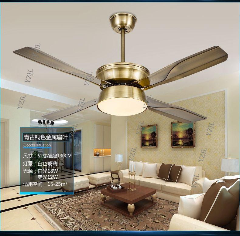 Simple fashion LED DC inverter ceiling chandelier fan light remote control restaurant silent fan lights ceiling chandelier fan