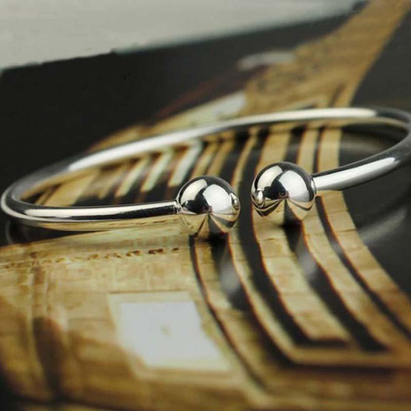 925 Sterling Silber Überzogen / Füllen Öffnen Frauen Stulpearmband Fit Anlässe Perlen Charme Armband mode armreifen Freies Verschiffen
