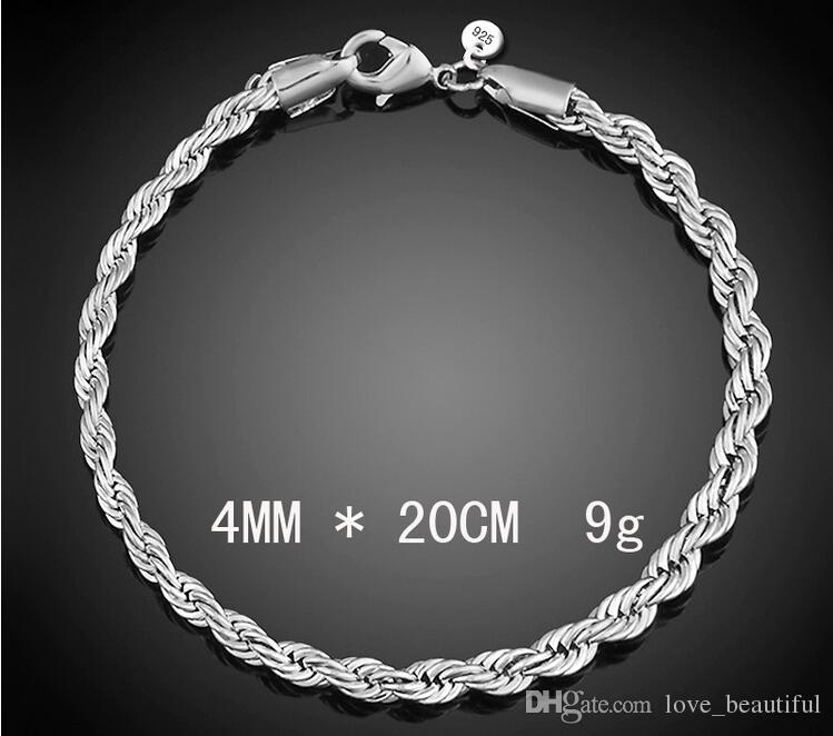 2017 Hot sale best Quality Charm 925 Sterling silver 4mm*8inch Hemp flowers fashion Square Noble Rope chain Bracelet jewelry