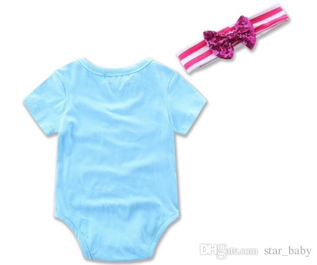 2017 bébé fille vêtements lettre d'or body barboteuse avec bandeau ensemble combinaison manches courtesOutfits enfants combinaison barboteuse nouveau-né Q0919
