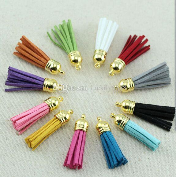 100pcs/lot Faux Leather Suede Tassel For Keychain Cellphone Straps Jewelry Charms Tassels Diy Accessoire 37mm