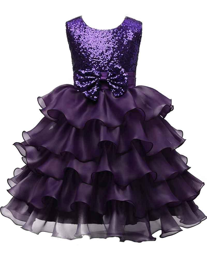 a5f60f3da HarveyBridal Purple Sequins Flower Girl Dresses With Big Bow Organza Tiers  Skirt Girl'S Pageant Dresses Kid'S Weding Party Gowns Tea Length Ballerina  Flower ...