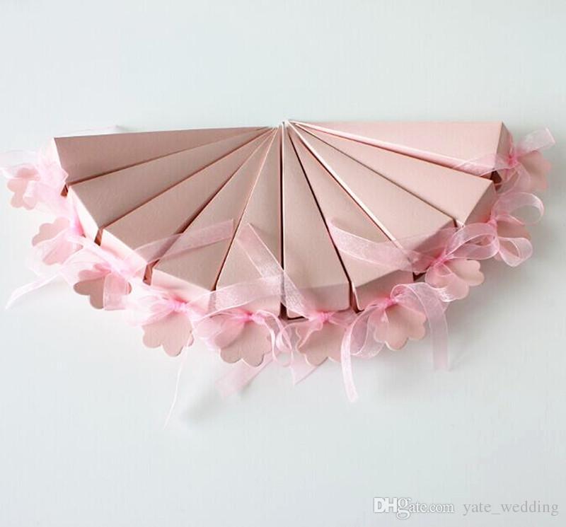 Scatole di caramella di nozze stile gelato scatole triangolari carta piegata box di favore delle scatole da sposa con scatole regalo di nozze con nastro t-blu giallo rosa bianco