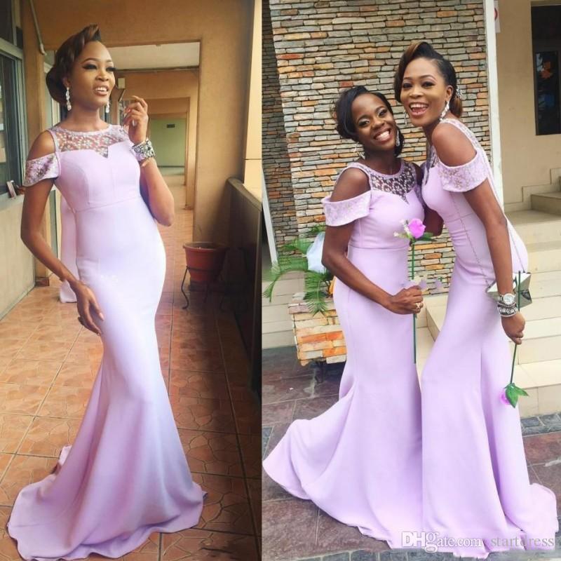 Vestidos de dama de honor larga sirena baratos para la boda fuera del hombro con cuentas cuello dama de honor trompeta tren vestidos de baile Nigeria boda invitado