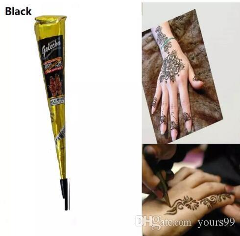바디 드로잉을위한 블랙 천연 인도 헤나 문신 붙여 넣기 블랙 헤나 문신 바디 아트 페인팅 고품질 25g