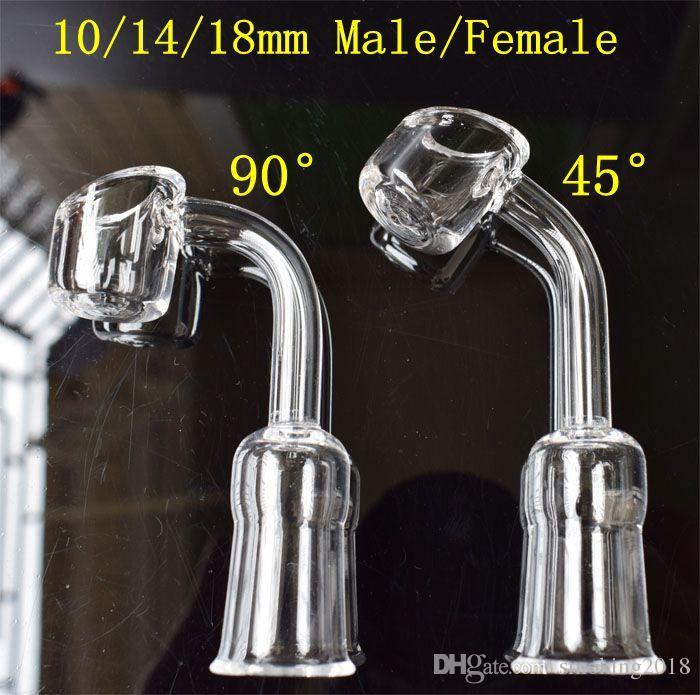 Quartz Banger Nail 4mm Épais 10/14 / 18mm Homme Femme Quartz Nail 45 Degrés 90 Degrés Bong Nong En Verre