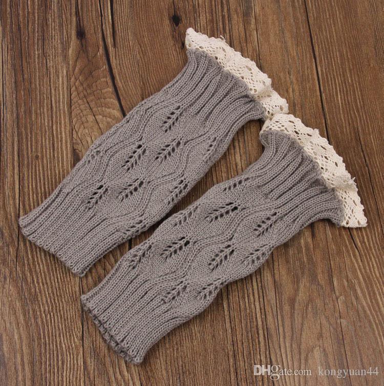 9 farbe frauen Häkelspitze stiefelmanschetten handgemachte Knit beinwärmer Ballett spitze Boot Manschette Beinlinge Weihnachtsstiefel Socken abdeckungen