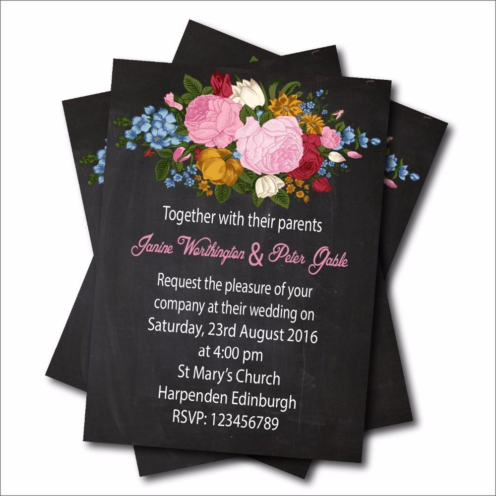 wholesale personalized vintage floral wedding invitation rustic lace chalkboard wedding invites bridal shower decoration supplier greeting cards for
