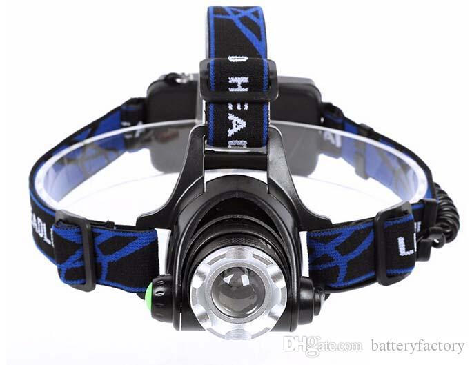 Gratis DHL, högkvalitativ 2000lumen CREE XM-L XML T6 LED-strålkastarljuslampa ljus + 2 18650 Batteri + 2x laddare
