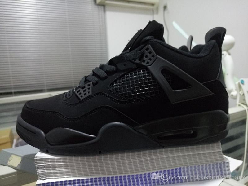 c98b63c85c72 Cheap 4s Women Basketball Shoes Outdoor Sports Shoes High Quality Mens  Atheletic Sneaker 4 All Black Cats Shoes Basketball Girls Basketball Shoes  From ...