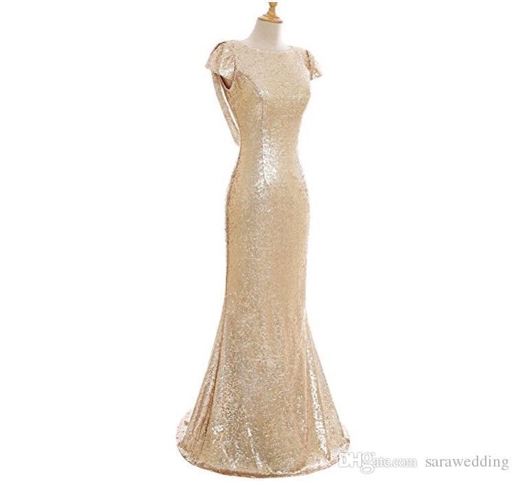 Pailletten Mermaid Brautjungfernkleider 2020 mit kurzen Ärmeln Champagner Gold Long Beach Hochzeit Kleider Suknie Dla Druhny