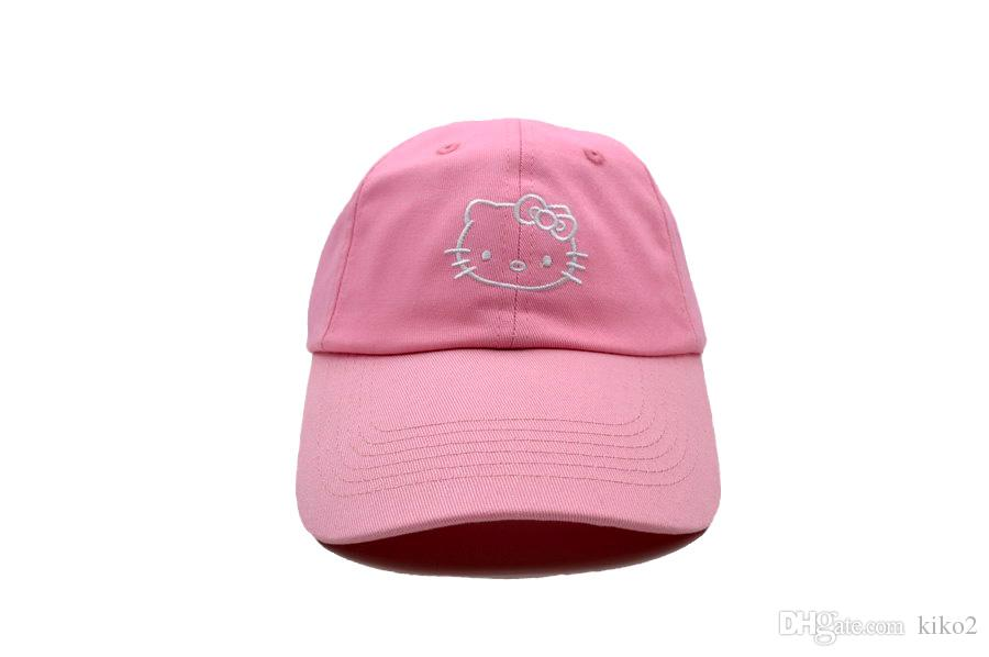 508e6d844 2017 Hot Hello Kitty Ball Caps Fashion Baseball Cap Embroidery Snapback  Adjustbale Snapbacks Woman Girl Lady Summer Sun Hats Golf Hat Fitted Cap  Baseball ...