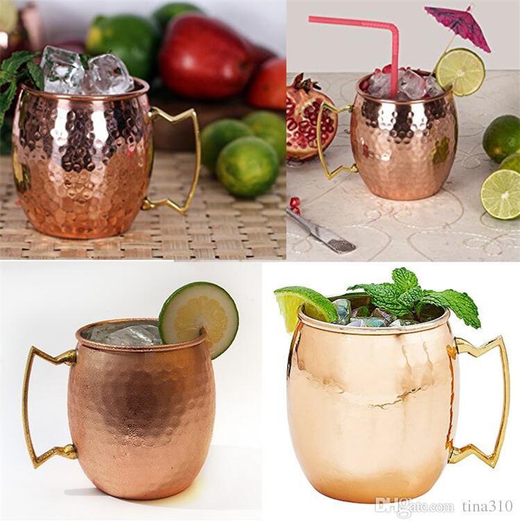Martellato rame placcato in acciaio inossidabile di rame Moscow Mule Mug Set di batterie di tipo Beer Cup di vetro di acqua Bicchieri I017