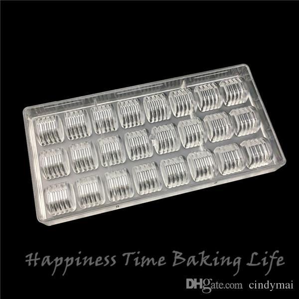 Polycarbonate chocolate mold,WAVE design,24x pc chocolate mold, 3D chocolate and confectionery,formas para chocolate,baking tool