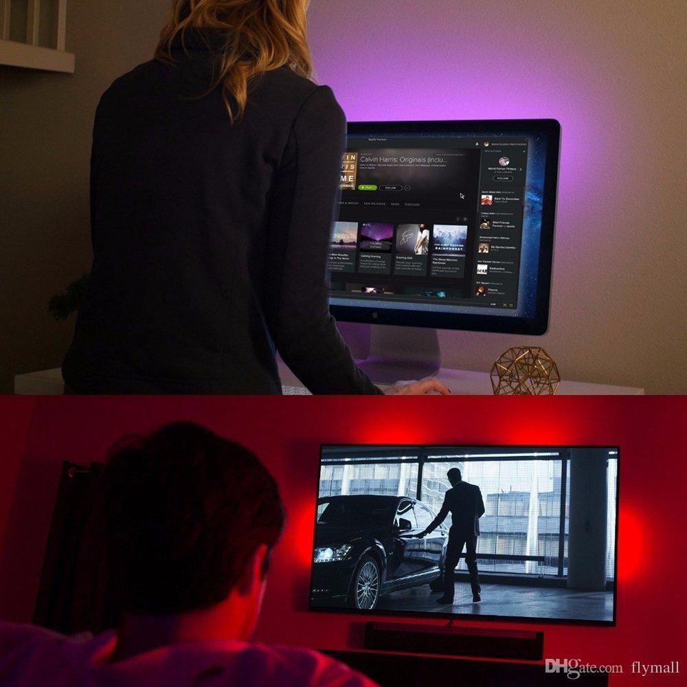 Su geçirmez Esnek 5050 RGB USB LED Şerit Işık Arka Uzaktan Kumanda ile HDTV Düz Ekran TV Masaüstü PC için Arka Plan Aydınlatma