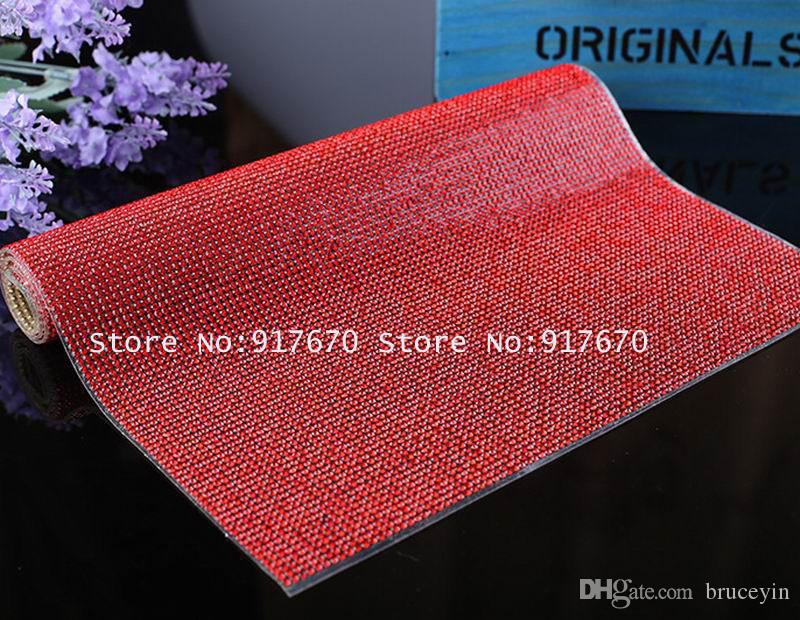 24*40cm Rhineston Trims Color Dark red Black/Red/Green/Clear Iron On Transfer Design Mesh Strass Crystal Roll Wedding Bridal Decoration