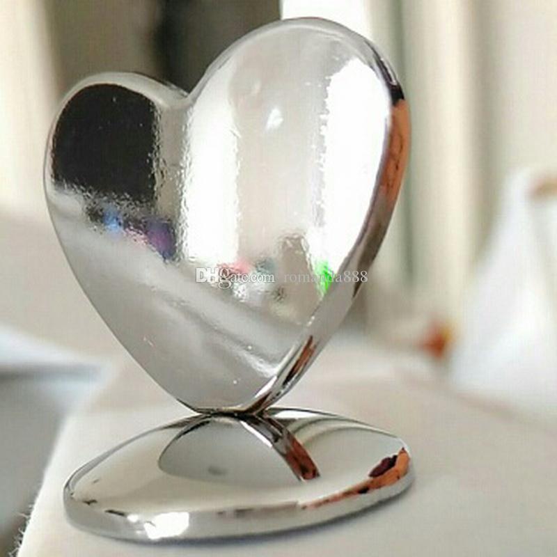 금속 하트 모양 크롬 플레이스 카드 소지자 웨딩 테이블 장식 선물 신부 샤워 이름표 홀더 DHL 무료 배송