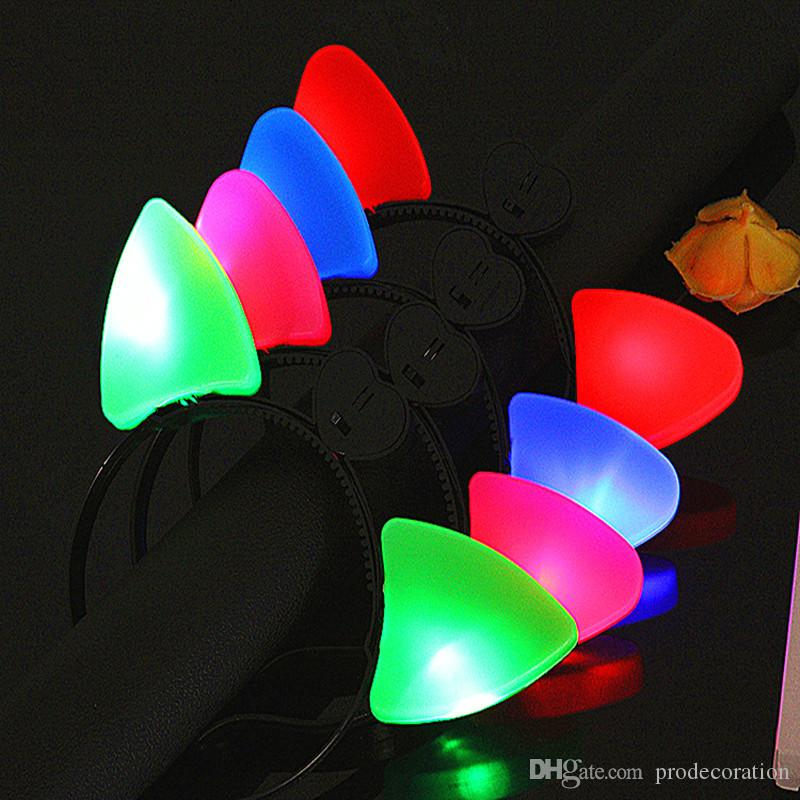 Christmas LED Cat Ears Headband Light Up Plastic Head Hoop Glowing In The Dark For Party Decoration Hot Sale Derict Factory Price