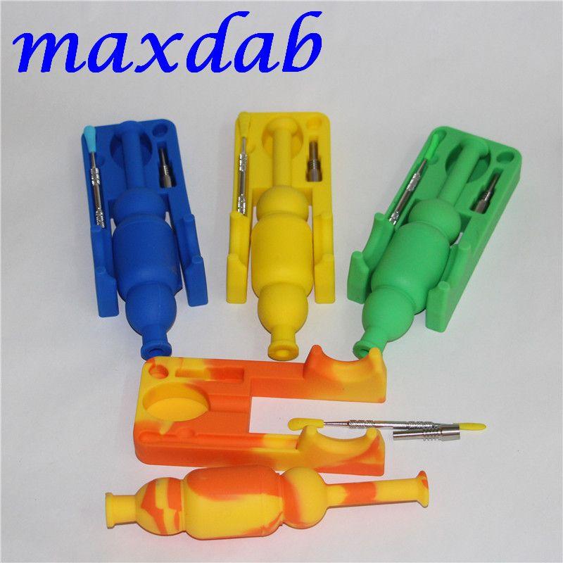 Kits de collecteurs de nectar de silicone avec l'outil titane et dabber en titane de 10 mm GR2 Mini tuyau de silicone pour tuyau de vidange d'huile Mini silicone Bong