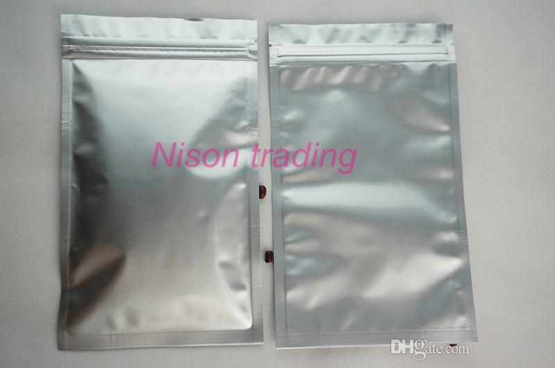 100 adet / grup metalik mylar toz kılıfı, 22 * 32 cm simli beyaz saf alüminyum folyo kilitli torba-yeniden açılabilir paketi hindistan cevizi plastik saklama çuval