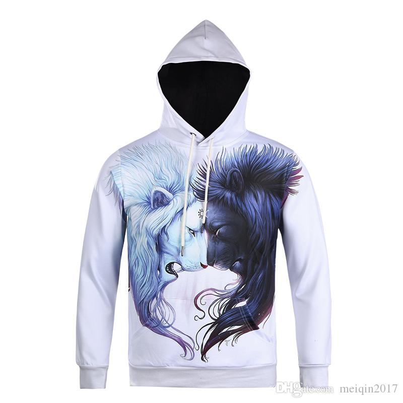 fa58199adb3c 2019 White And Black Lion 3D Printed Hoodies Men Unique Pattern Hoodie  Sweatshirt For Boys Hooded Pullover Winter Coat SX 151 From Meiqin2017