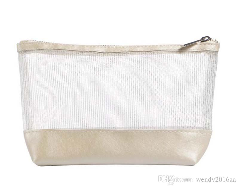 2017 Women Transparent Nylon Cosmetic bags Ladies Candy Color Waterproof Wash Bags