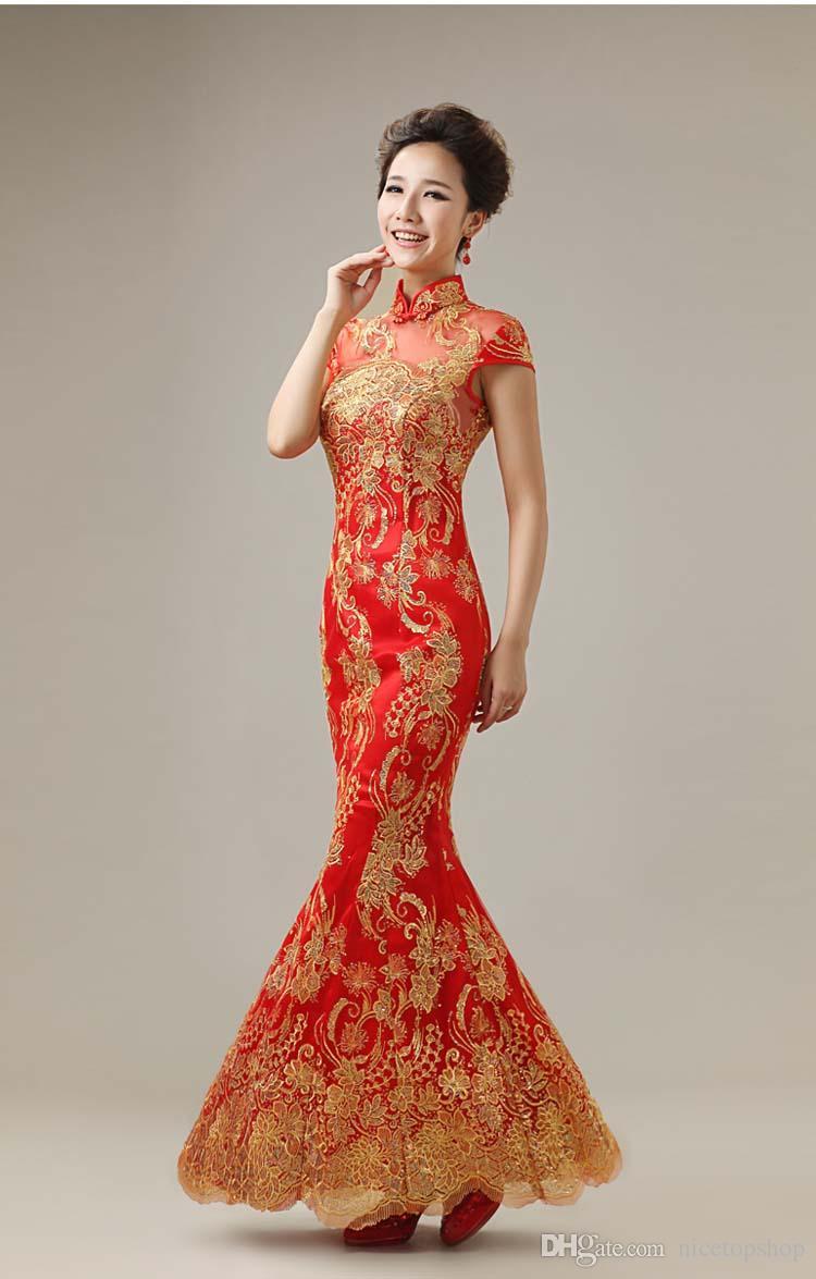 2015 Chinese Wedding Mermaid Cheongsam Sexy Wedding Toast Party Dress High Collar Mermaid Cheongsam Sequin Lace Satin Long Maxi