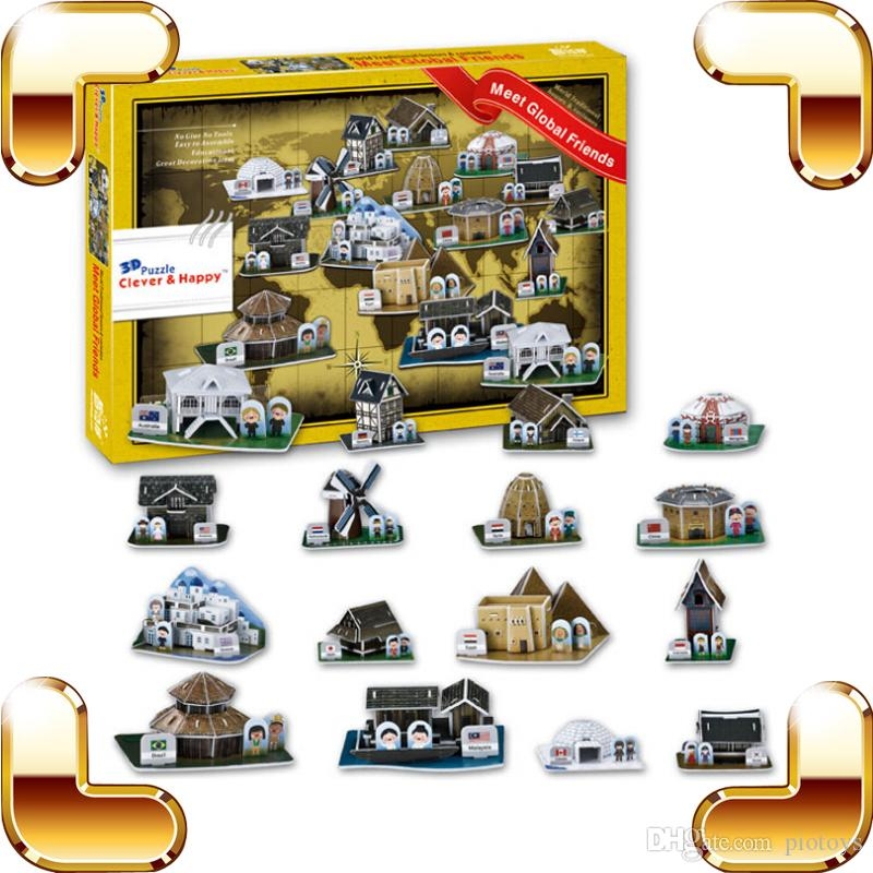 Regalo di Capodanno Global House 3D Puzzle Diversi Country Building Puzzle Modello Casa DIY PUZ Build For Fun Paper PCS Giocattoli presenti