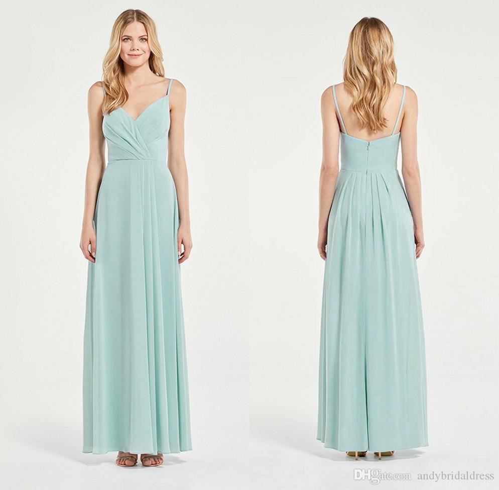 Cheap Sheath Spaghetti Straps Long Chiffon Mint Green Bridesmaid ...