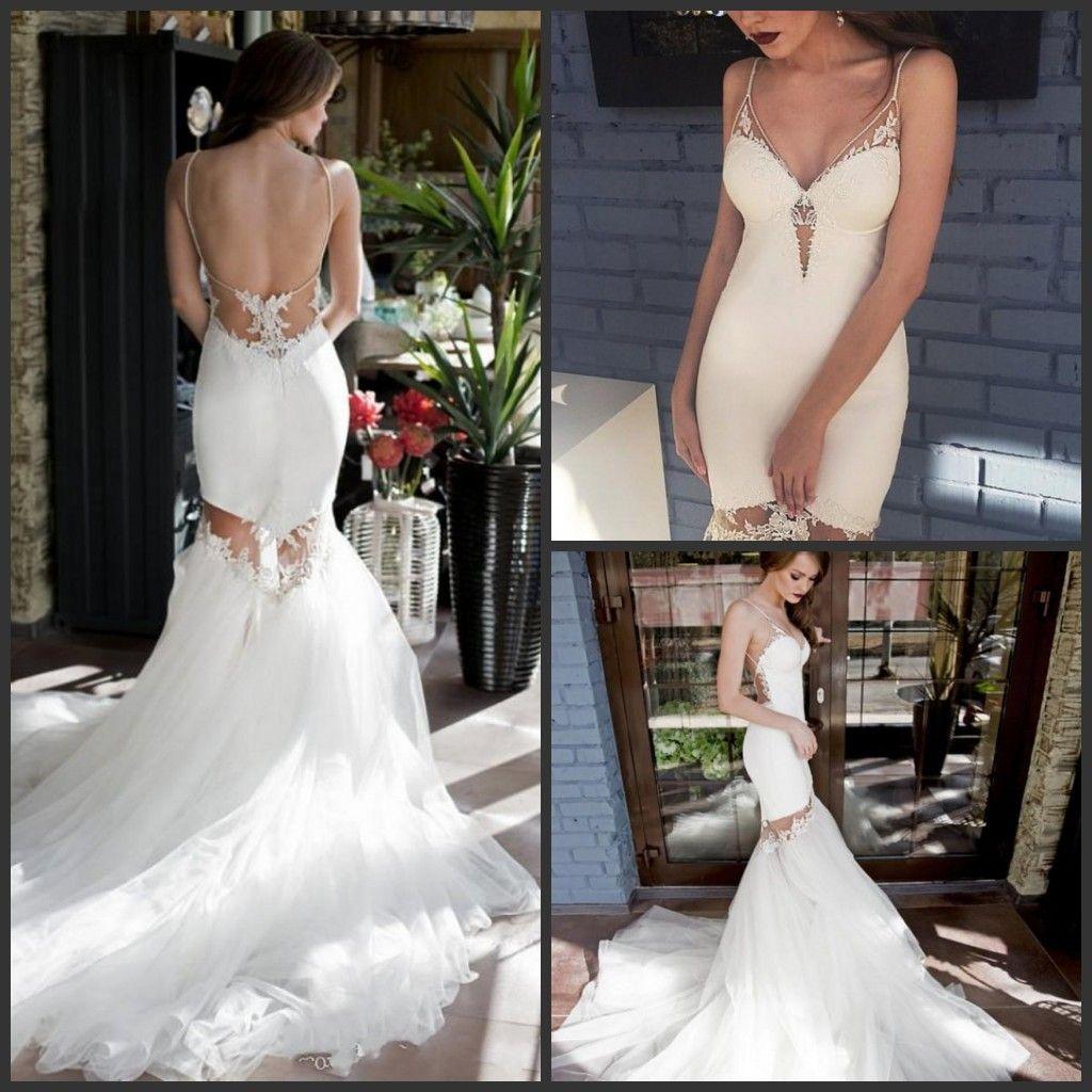 2020 New Sexy Backless sereia vestido de noiva curto Spaghetti Lace apliques vestidos de noiva destacável Tulle saia vestidos de casamento 437
