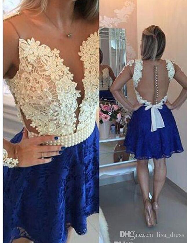 a7c5e8ba523 Short Royal Blue Long Sleeve Formal Homecoming Dresses Lace Applique Crew  Neck Tulle Satin A Line Knee Length Cocktail Party Gowns Halter Top  Homecoming ...