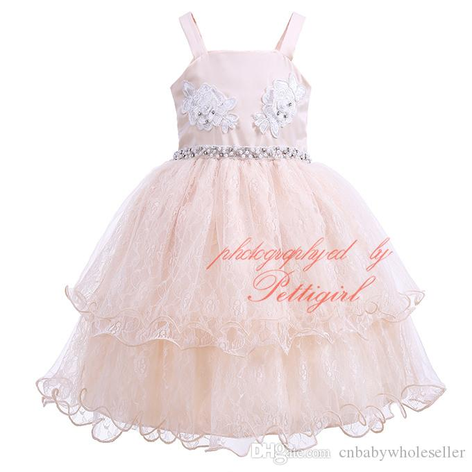 Pettigirl 2017New Girl Party Dress Sling Champagne Flower Embroidery Wirh Bow Beaded Layered Tulle Kids Wedding Slip Clothing GD81207-25L