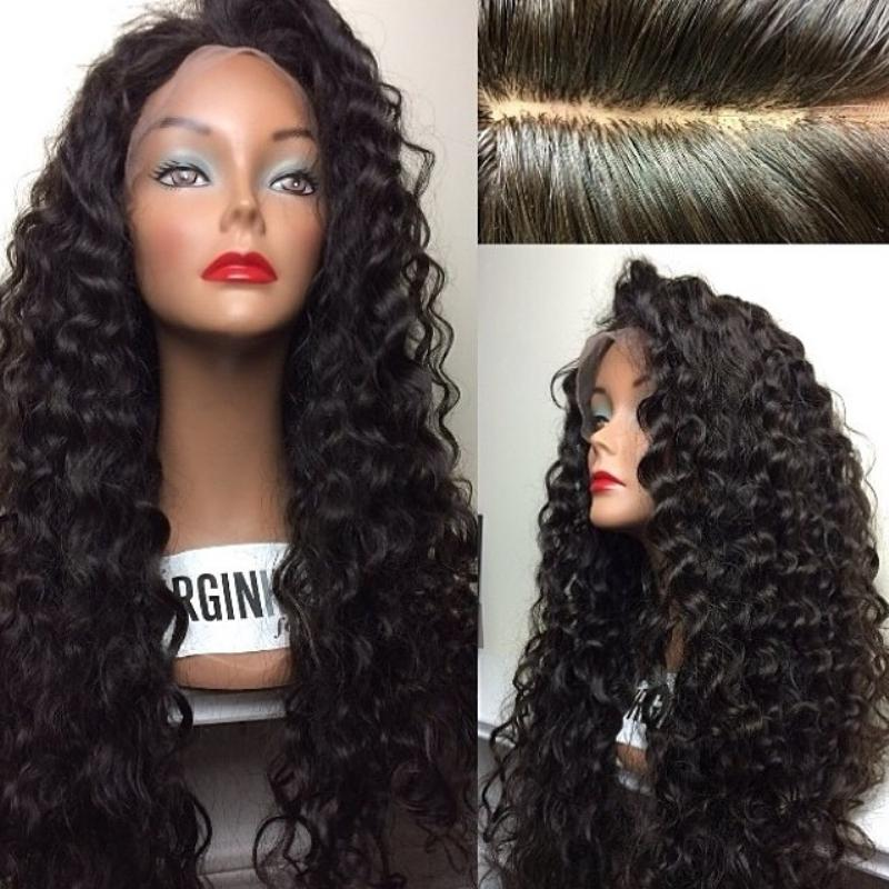 Peruvian Human Hair Glueless Full Lace Wigs Kinky Curly Lace Front Wigs with Baby Hair for African Americans