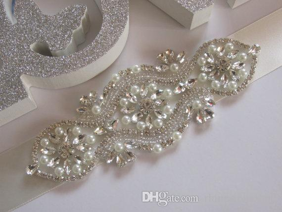 Handmade Silver Rhinestones Appliques Wedding Belt Clear Crystal Sewing on Bridal Sashes Wedding Dresses Sashes Bridal Accessories T26