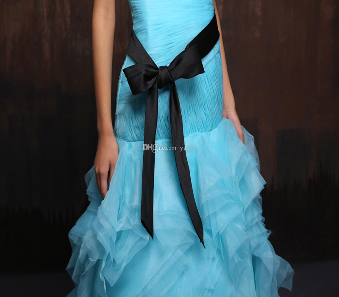 New Fashion 2019 Mermaid Sky Blue Quinceanera Dresses Sweet 15 Strapless Debutante Dresses Tulle Draped Sweep Train Prom Gowns with Bow Sash