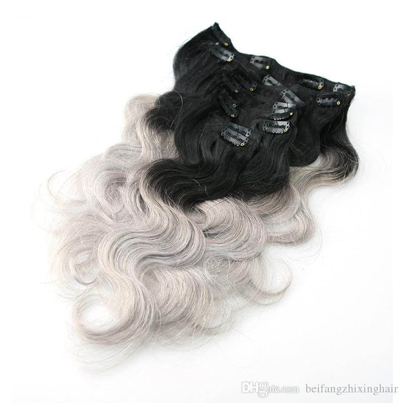 7A Top Ombre Clip In Hair Extensions 2 tone 1B/Silver Grey 100g Ombre Peruvian Clip In Human Hair Extensions