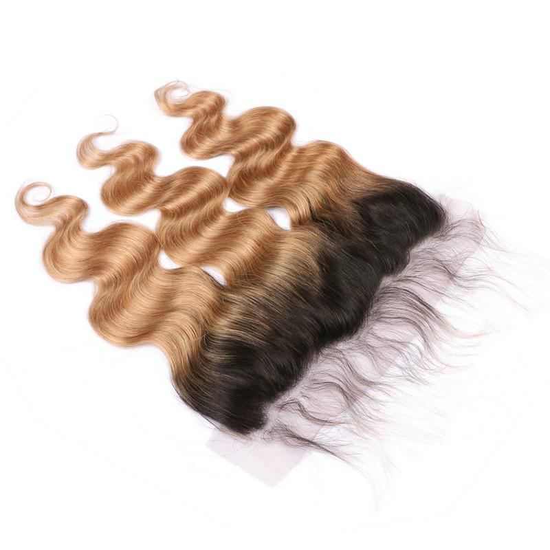 Free Middle Three Teil Honig Blonde Ombre 13x4 Spitze Frontal Schließung Körperwelle T1B / 27 Ombre Indisches Menschenhaar Ohr an Ohr Frontal
