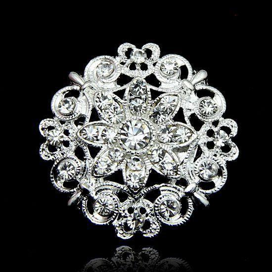 Silver Clear Rhinestone Crystal Brooch Love Heart Flower Corsage Wedding Bridal Bouquet Brooches Pins for Men Women Wedding Gift
