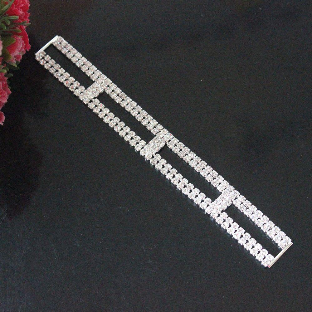 NEW 16cm Crystal Rhinestone Bikini Connectors/ Buckle Silver Metal Chain For Swimming Wear Bikini Decoration