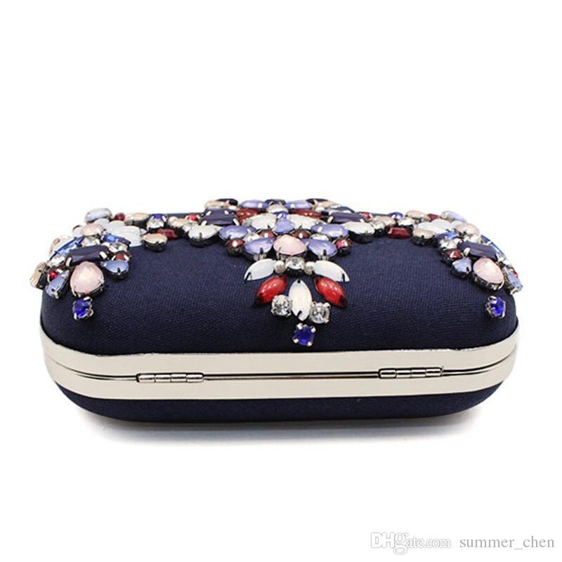 2017 elegante bolso de embrague de cristal flor de noche bolsa de diamantes de lluvia con cuentas bolsos de cuentas de las mujeres del partido nupcial monedero