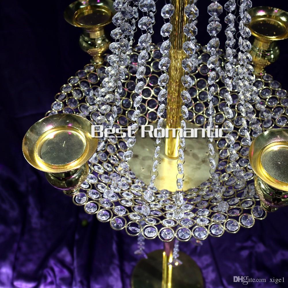 10 pz / lotto Nuovo arrivo 90 cm di altezza 40 cm diametro acrilico di cristallo strada matrimonio piombo centrotavola evento decorazione del partito
