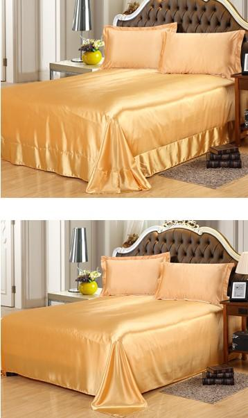 Gold Silk Bedding Satin Flat Fitted Bed Sheets Sheet Set Super King