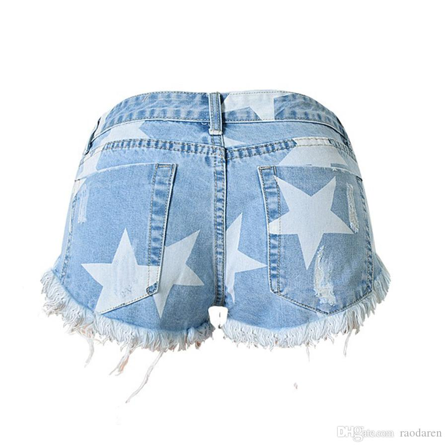 Raodaren Stars Print Women Shorts Fashion Frayed Tassel Denim Shorts Washed Sexy Low Waist Super Jean Shorts Summer 2017 European Style