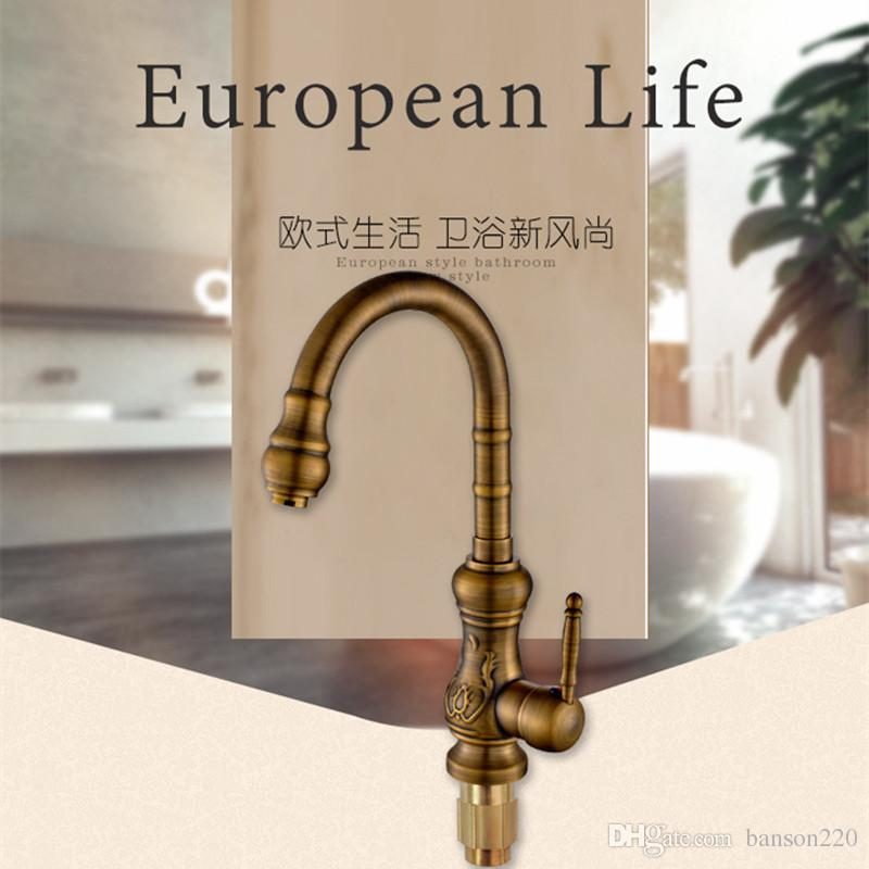2019 Luxury Antique Kitchen Sink Faucet With Single Handle Single