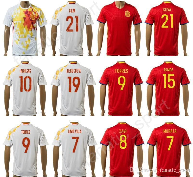 e2753157575 2019 17 18 Camiseta De Futbol Soccer Jersey Spain Football Shirt Foot  Tshirt National Team 7 DAVID VILLA 8 XAVI 1 CASILLAS 6 A.INIESTA 11 PEDRO  From ...