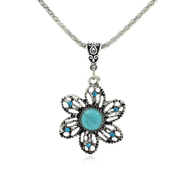 Gute A ++ Modeschmuck personalisierte türkis handgemachte hohle Blütenblätter Armband lange Halskette WFN421 mit Kette Mischungsauftrag 20 Stück viel