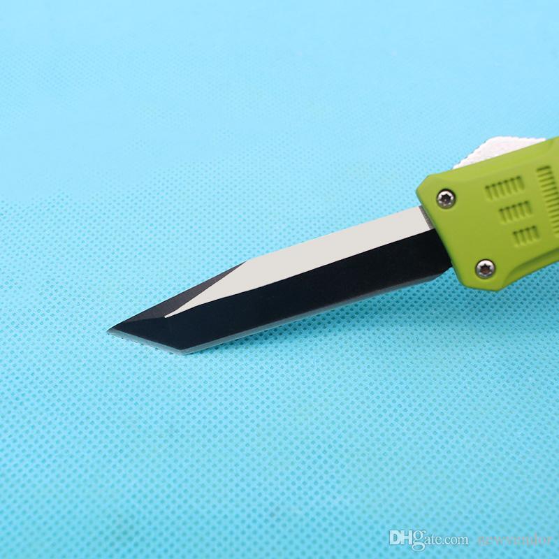 Custom Knives - 7 Inch Small 616 Auto Tactical Knife 440C Single Tanto Fine Edge Blade Green Handle With Nylon Bag